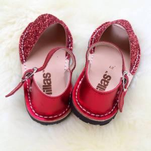 Solillas red glitter Menorcan sandals