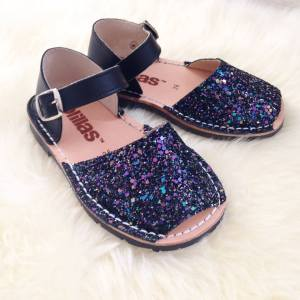 Solillas black glitter Menorcan sandals
