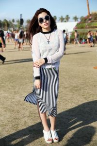 Coachella Outfit - black and white stripes with white platforms