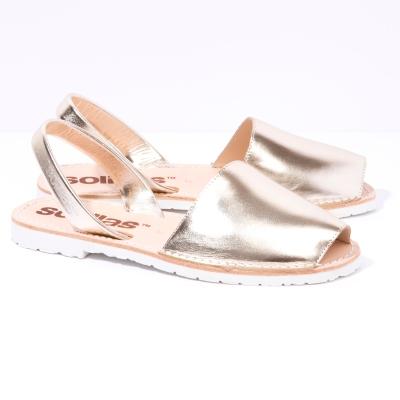 Solillas-Menorcan-Sandals-Original-Gold-Metallic-Leather-Cavallet-Pair-Angle