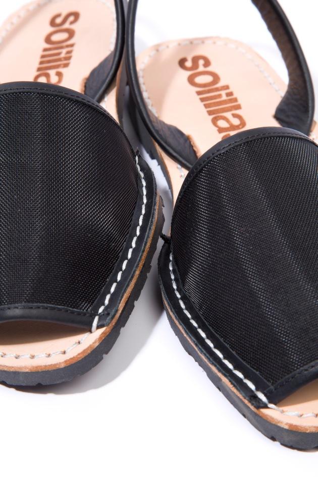 Solillas-Menorcan-Sandals-Original-Black-Mesh-Leather-Urbana-Close-Crop