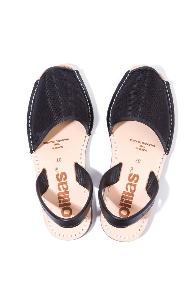 Solillas-Menorcan-Sandals-Original-Black-Mesh-Leather-Urbana-Pair-Pair-Above